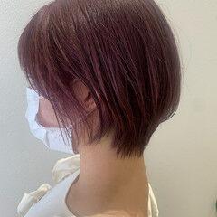 バイオレットカラー ショートヘア ショートボブ ピンクラベンダー ヘアスタイルや髪型の写真・画像