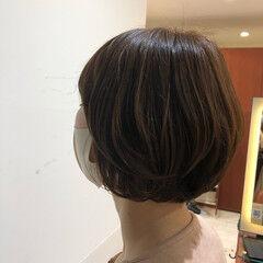 ワンカールパーマ ナチュラル おしゃれ ショートボブ ヘアスタイルや髪型の写真・画像