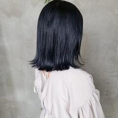 オシャレ ストリート ミディアム ネイビー ヘアスタイルや髪型の写真・画像