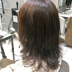 ミディアム 大人かわいい デジタルパーマ 無造作パーマ ヘアスタイルや髪型の写真・画像
