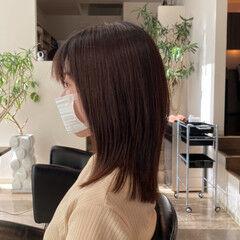 艶髪 レイヤーカット セミロング 大人可愛い ヘアスタイルや髪型の写真・画像