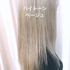 ナチュラル ロング ホワイティベージュ ハイトーン ヘアスタイルや髪型の写真・画像