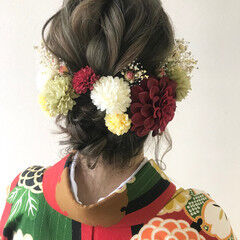 袴 セミロング 和装ヘア 卒業式 ヘアスタイルや髪型の写真・画像