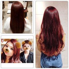 ストリート フェミニン ロング ベリーピンク ヘアスタイルや髪型の写真・画像