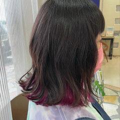 インナーカラー デザインカラー ピンクカラー ボブ ヘアスタイルや髪型の写真・画像