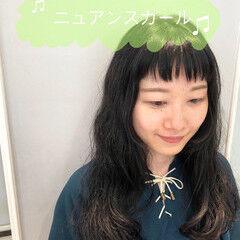 前髪パーマ デジタルパーマ 姫カット セミロング ヘアスタイルや髪型の写真・画像
