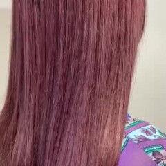 ベリーピンク ラベンダーピンク 韓国風ヘアー フェミニン ヘアスタイルや髪型の写真・画像