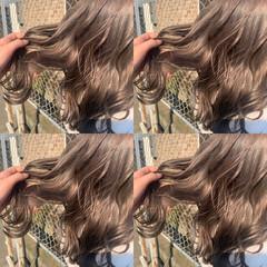 エレガント ラベンダー ブラウンベージュ ロング ヘアスタイルや髪型の写真・画像