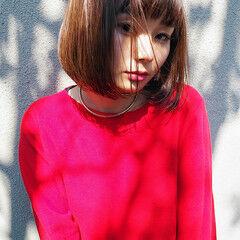 ミルクティー ボブ ウェットヘア かわいい ヘアスタイルや髪型の写真・画像