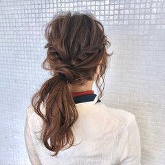 ロング 簡単ヘアアレンジ ウォーターフォール ナチュラル ヘアスタイルや髪型の写真・画像