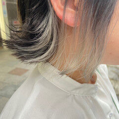 アッシュグレージュ ブリーチカラー ブリーチ インナーカラー ヘアスタイルや髪型の写真・画像