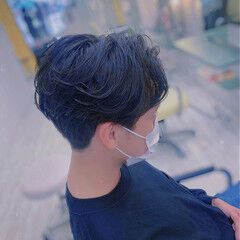 メンズパーマ メンズカット 2ブロック ショート ヘアスタイルや髪型の写真・画像