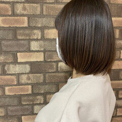 縮毛矯正 イルミナカラー スロウ ボブ ヘアスタイルや髪型の写真・画像