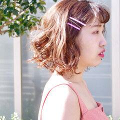 春 パーマ ボブ 簡単ヘアアレンジ ヘアスタイルや髪型の写真・画像