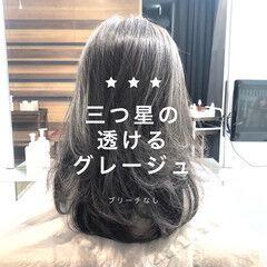 ナチュラル グレージュ セミロング 髪質改善 ヘアスタイルや髪型の写真・画像