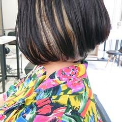 簡単スタイリング デザインカラー ボブ インナーカラー ヘアスタイルや髪型の写真・画像