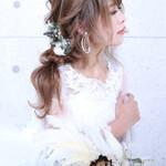 簡単ヘアアレンジ フェミニン 結婚式 デート