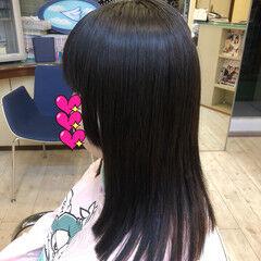 セミロング デート ガーリー ストレート ヘアスタイルや髪型の写真・画像
