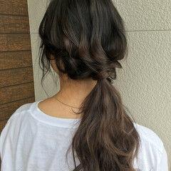 セミロング バックコーミング アッシュベージュ ベージュ ヘアスタイルや髪型の写真・画像