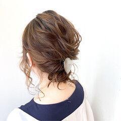 結婚式 後れ毛 フェミニン ヘアアレンジ ヘアスタイルや髪型の写真・画像