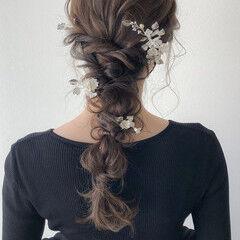 ナチュラル ロング お呼ばれヘア 編みおろし ヘアスタイルや髪型の写真・画像