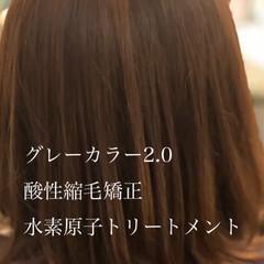 大人ハイライト フェミニン ミディアム 白髪染め ヘアスタイルや髪型の写真・画像