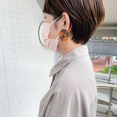 ショートヘア ナチュラル くびれボブ 小顔ショート ヘアスタイルや髪型の写真・画像
