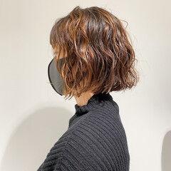 ナチュラル ボブ 束感バング デジタルパーマ ヘアスタイルや髪型の写真・画像