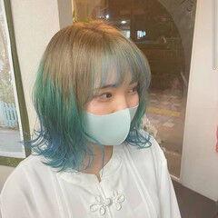 ガーリー グラデーションカラー ターコイズブルー インナーブルー ヘアスタイルや髪型の写真・画像