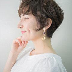大人ショート ナチュラル 透明感 ショート ヘアスタイルや髪型の写真・画像
