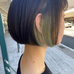 グリーン ナチュラル ボブ ブリーチ ヘアスタイルや髪型の写真・画像