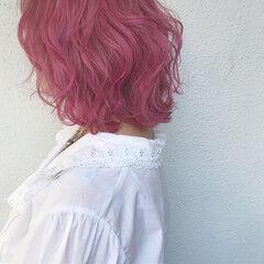 カラーバター ビビッドカラー ガーリー ダブルカラー ヘアスタイルや髪型の写真・画像