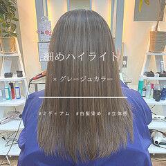 セミロング ハイライト イメチェン モード ヘアスタイルや髪型の写真・画像