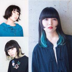 ミディアム ストリート 姫カット 切りっぱなしボブ ヘアスタイルや髪型の写真・画像