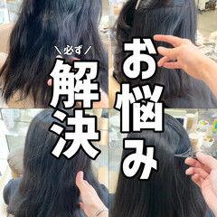 ナチュラル セミロング ブリーチなし 縮毛矯正 ヘアスタイルや髪型の写真・画像