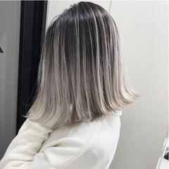 エアータッチ ホワイトカラー エレガント バレイヤージュ ヘアスタイルや髪型の写真・画像
