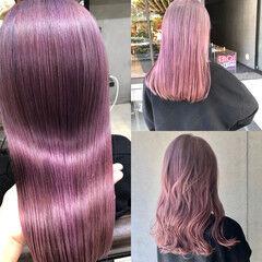 ハイトーンカラー クール ピンクパープル ピンクアッシュ ヘアスタイルや髪型の写真・画像