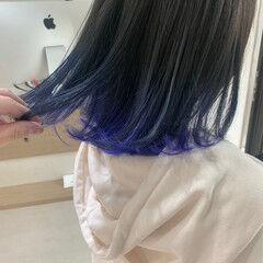 ブルーアッシュ ボブ ミニボブ アンニュイほつれヘア ヘアスタイルや髪型の写真・画像