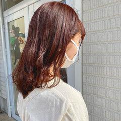 波ウェーブ ヘアアレンジ ミディアム 赤髪 ヘアスタイルや髪型の写真・画像