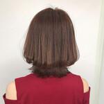 イメチェン ナチュラル 外ハネボブ 髪質改善カラー