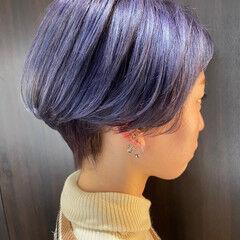 ブリーチ ショート バイオレットアッシュ ナチュラル ヘアスタイルや髪型の写真・画像