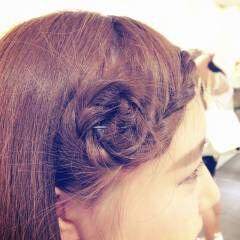 セルフヘアアレンジ ライブ 編み込み 前髪あり ヘアスタイルや髪型の写真・画像