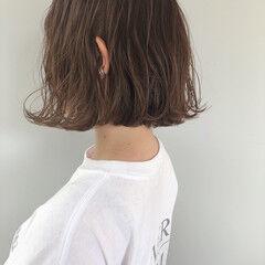 ナチュラル ミルクグレージュ ミニボブ 大人かわいい ヘアスタイルや髪型の写真・画像