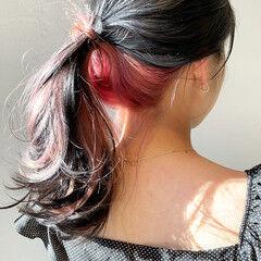ベリーピンク インナーカラー インナーカラーレッド ピンク ヘアスタイルや髪型の写真・画像