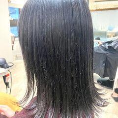 ネイビーブルー 韓国ヘア ナチュラル ミディアム ヘアスタイルや髪型の写真・画像