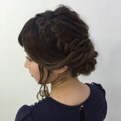ヘアアレンジ ヘアセット セミロング 編み込みヘア ヘアスタイルや髪型の写真・画像