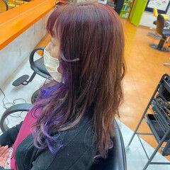 エレガント ロング トリートメント インナーカラーパープル ヘアスタイルや髪型の写真・画像