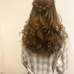 フェミニン ハーフアップ ブライダル ロング ヘアスタイルや髪型の写真・画像
