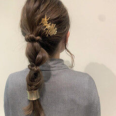 ヘアアレンジ 編みおろし セルフヘアアレンジ 編みおろしヘア ヘアスタイルや髪型の写真・画像