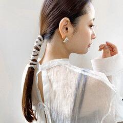 結婚式ヘアアレンジ モカブラウン セミロング 簡単ヘアアレンジ ヘアスタイルや髪型の写真・画像